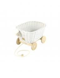 Rattan Spielzeugwagen zum Ziehen weiß / Nachziehwagen