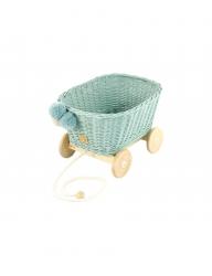Rattan Spielzeugwagen zum Ziehen zartmint / Nachziehwagen