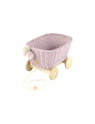 Rattan Spielzeugwagen zum Ziehen zartrosa / Nachziehwagen