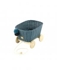 Rattan Spielzeugwagen zum Ziehen blau / Nachziehwagen