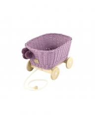 Rattan Spielzeugwagen zum Ziehen lila/ Nachziehwagen