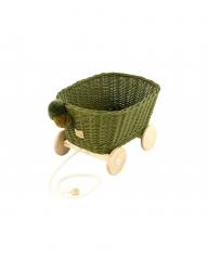 Rattan Spielzeugwagen zum Ziehen khaki / Nachziehwagen