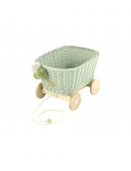Rattan Spielzeugwagen zum Ziehen hellgrün / Nachziehwagen