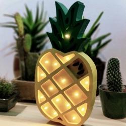 LED Lampe Ananas Holz