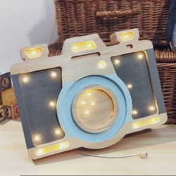 LED Lampe Fotoapparat Holz