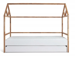 Hausbett Lotta 90x200cm natur-weiß inkl. Schublade