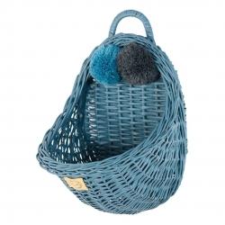 Rattan Wandkorb blau Pompon