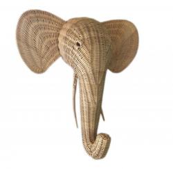 Rattan Wanddeko Elefant