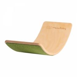 Balance Board Holz mit Filz grün