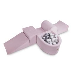 Schaumstoffbausteine grau mit Mini-Bällebad