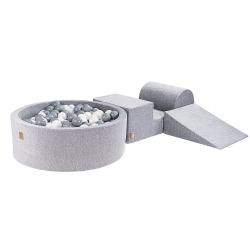 Schaumstoffbausteine + Bällebad + 200 Bälle grau