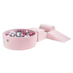 Schaumstoffbausteine + Bällebad + 200 Bälle rosa