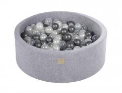 Bällebad Velvet grau rund inkl. 200 Bälle