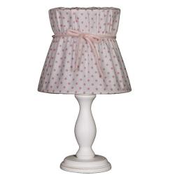 Tischlampe rosa-weiß gepunktet